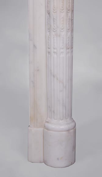 Beautiful antique Louis XVI style fireplace with fluted half-columns and pearls frieze in white Carrara marble-7