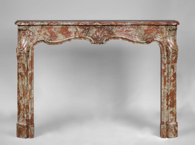 Rare antique Louis XV period fireplace in Red from the Languedoc marble, 18th century - Reference 3191