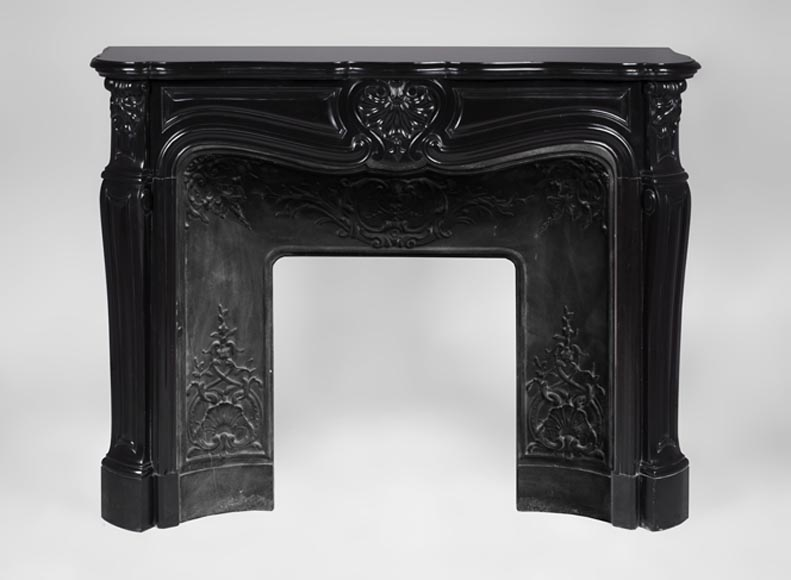 Beautiful antique Louis XV style fireplace in Black Belgium marble - Reference 3196
