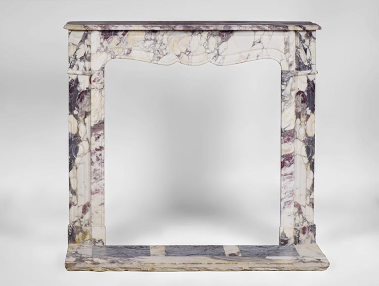 Small antique Pompadour style fireplace in a beautiful Breccia Violet marble with its marble floor - Reference 3198