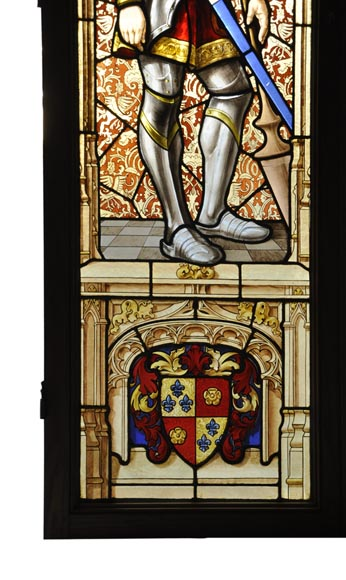 Antique Neo-Gothic style stained glass window signed and dated by Hubert and Martineau-2