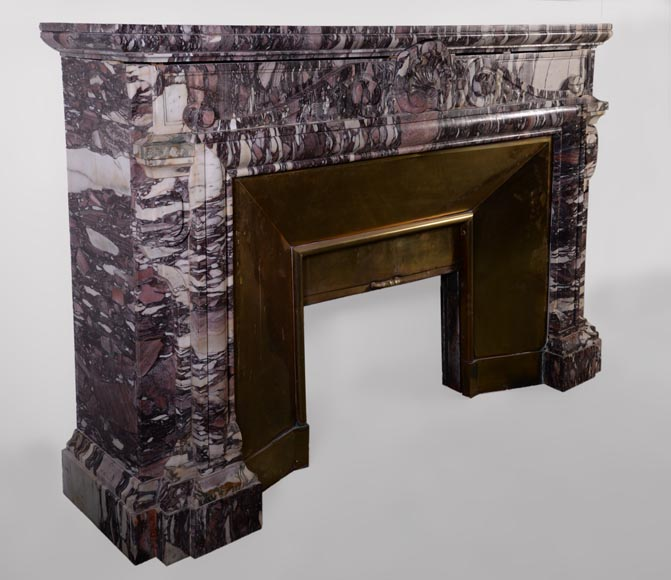 Large antique Napoleon III style fireplace in Violet Breccia marble with large shell-4