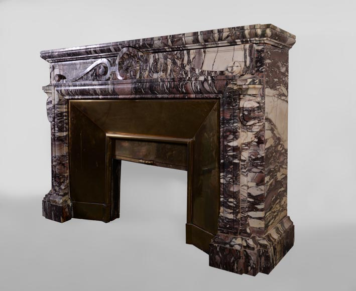 Large antique Napoleon III style fireplace in Violet Breccia marble with large shell-8