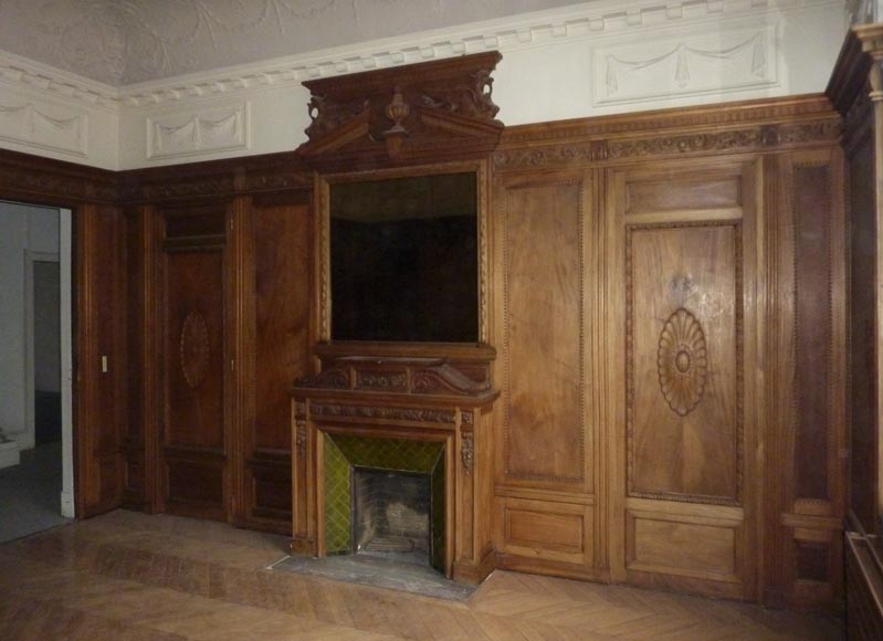 Napoleon III style paneled room with fireplace and mirror, chimeras decor, in carved wood-0