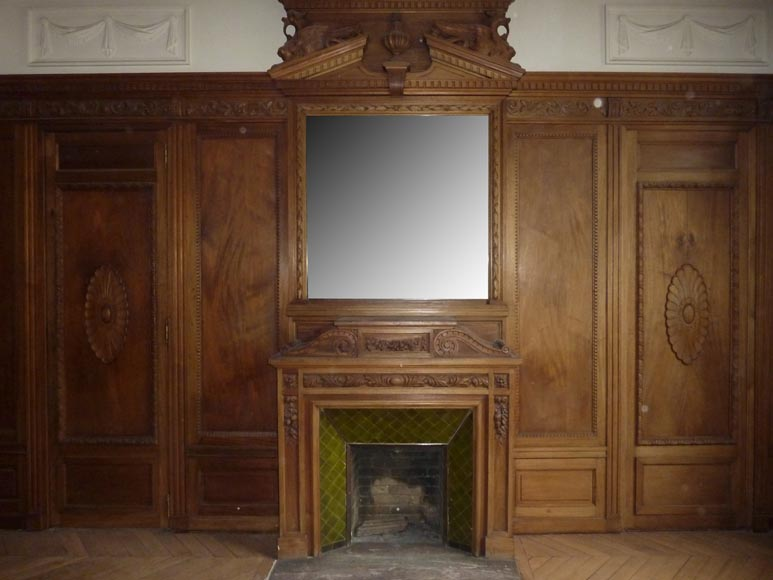 Napoleon III style paneled room with fireplace and mirror, chimeras decor, in carved wood-1