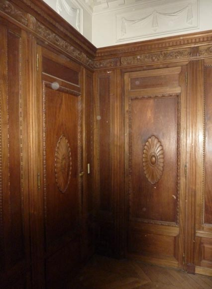 Napoleon III style paneled room with fireplace and mirror, chimeras decor, in carved wood-3