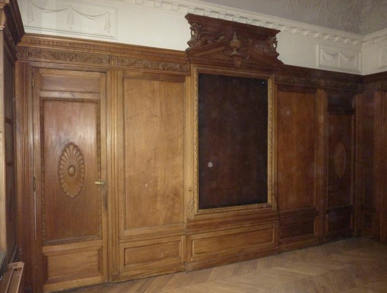 Napoleon III style paneled room with fireplace and mirror, chimeras decor, in carved wood-5