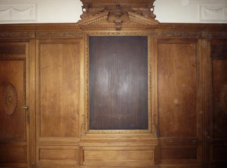 Napoleon III style paneled room with fireplace and mirror, chimeras decor, in carved wood-6