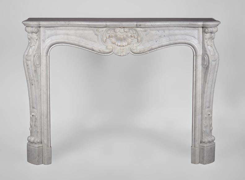 Antique Louis XV style fireplace, three shells model, in white Carrara marble-0