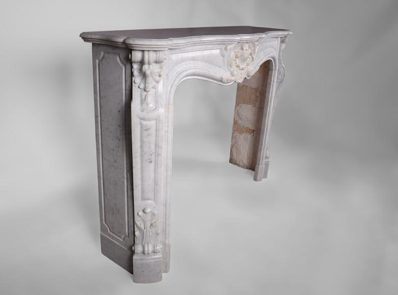 Antique Louis XV style fireplace, three shells model, in white Carrara marble-2