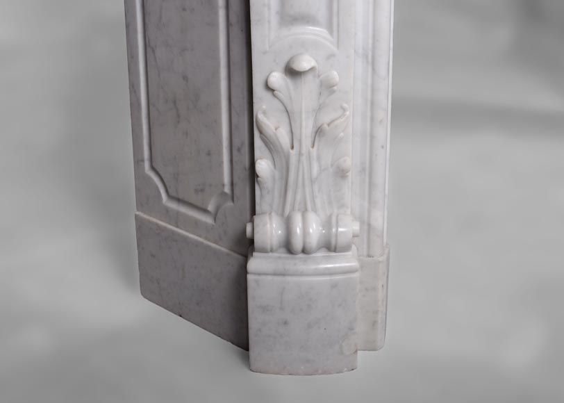 Antique Louis XV style fireplace, three shells model, in white Carrara marble-4