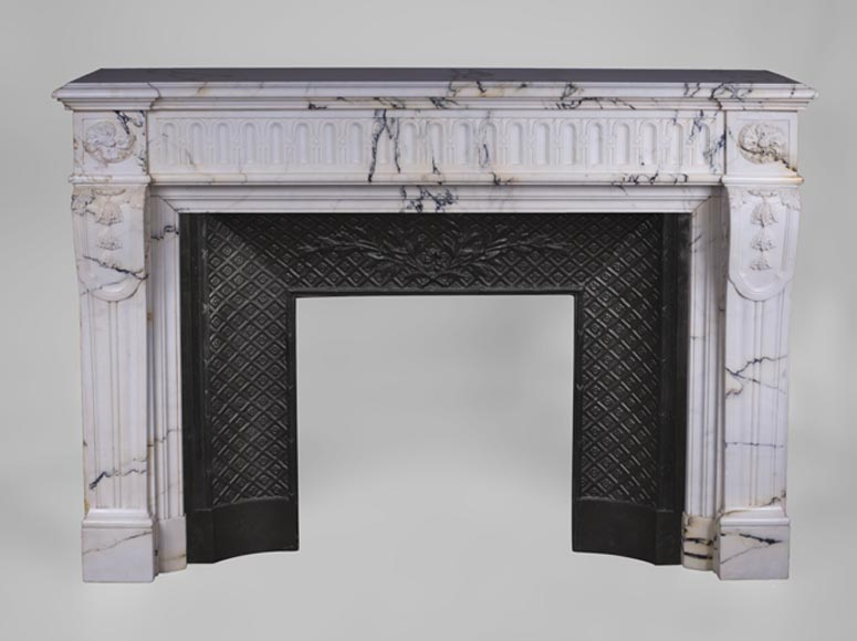 Large antique Louis XVI style fireplace with flutings in Paonazzo marble - Reference 3214