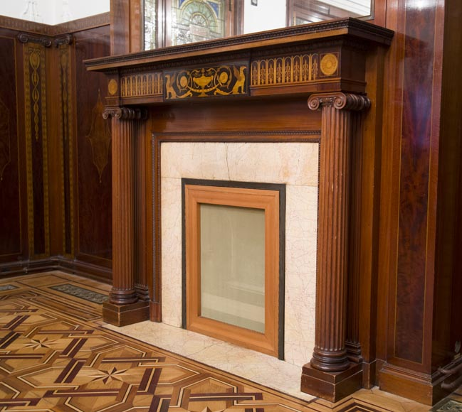 Exceptional antique Regency style complete paneled room in mahogany marquetry with fireplace, France 19th century-5