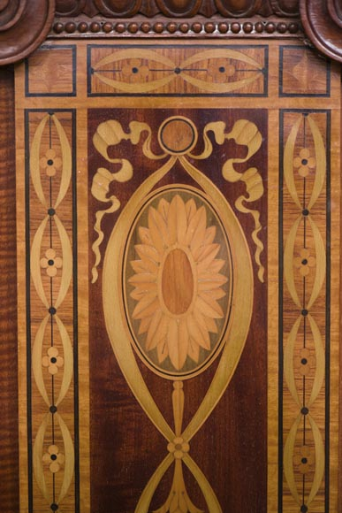 Exceptional antique Regency style complete paneled room in mahogany marquetry with fireplace, France 19th century-11