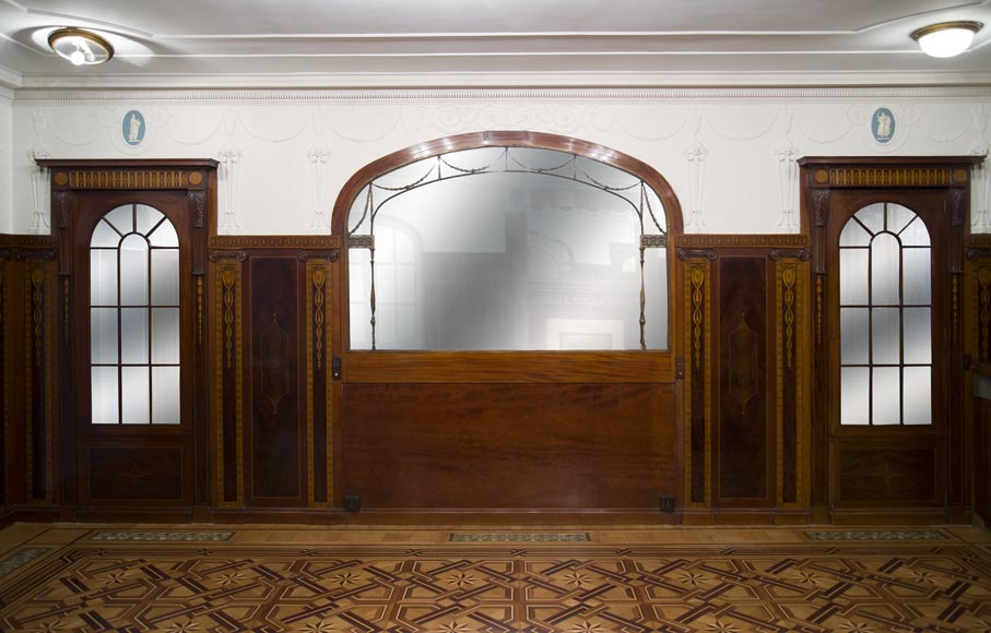 Exceptional antique Regency style complete paneled room in mahogany marquetry with fireplace, France 19th century-14