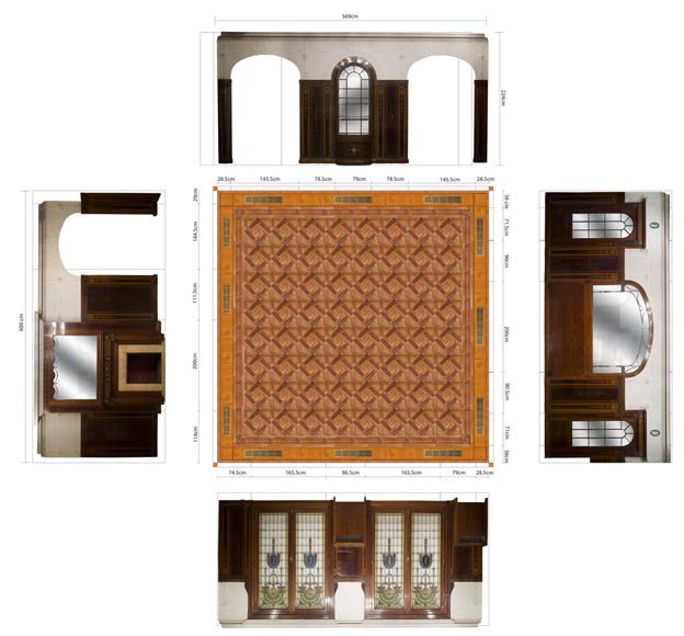 Exceptional antique Regency style complete paneled room in mahogany marquetry with fireplace, France 19th century-31
