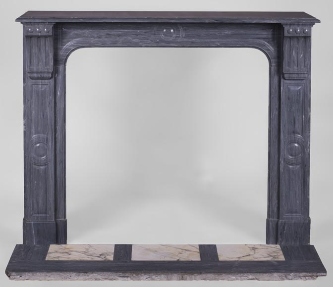 Antique Napoleon III fireplace in Blue Turquin marble-0