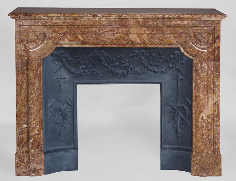 Antique Louis XIV style fireplace in Brèche marble-0