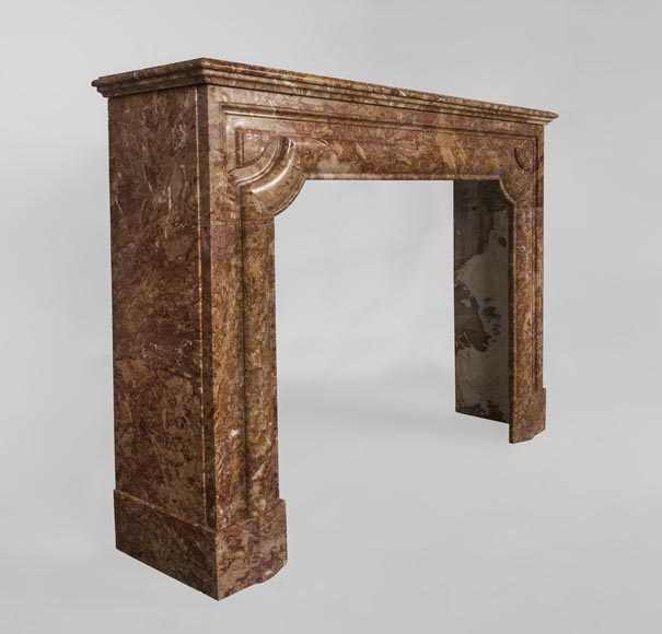 Antique Louis XIV style fireplace in Brèche marble-2