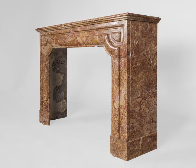 Antique Louis XIV style fireplace in Brèche marble-5