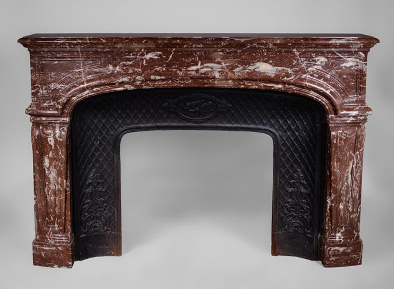 Large antique Regence style fireplace in Red from the North marble - Reference 3231