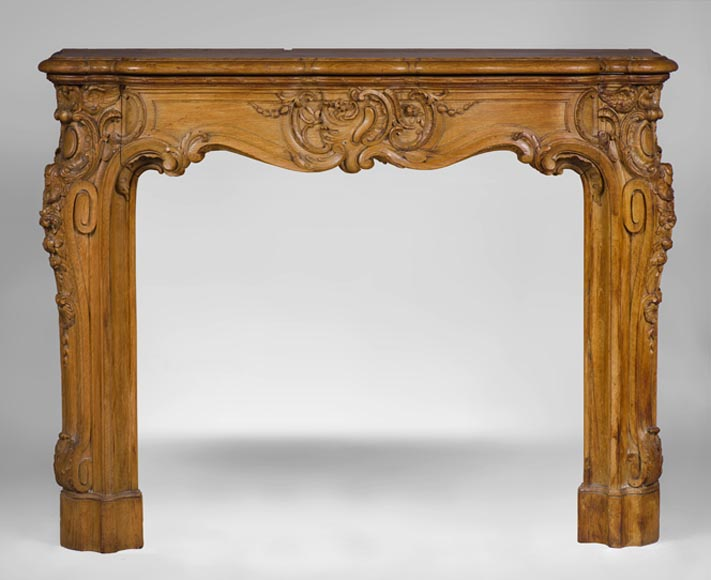 Beautiful antique Louis XV style oak fireplace richly carved, late 19th c. - Reference 3233
