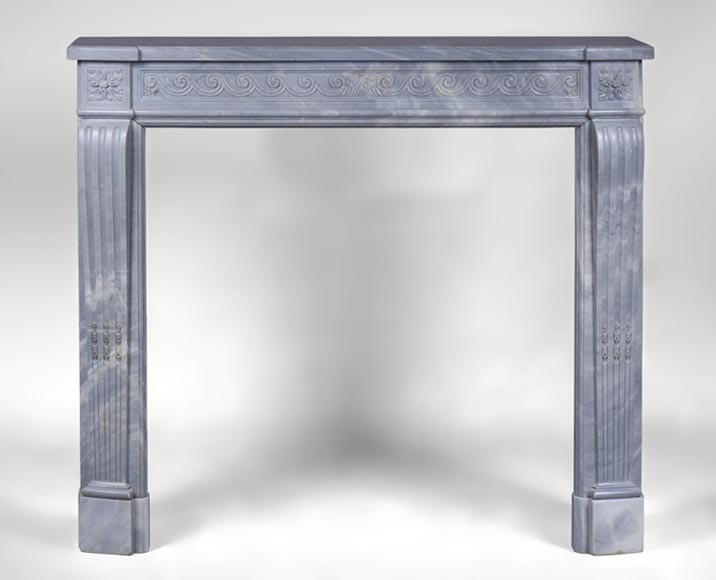 Charming antique Louis XVI style fireplace with vitruvian scroll in Blue Turquin marble - Reference 3235