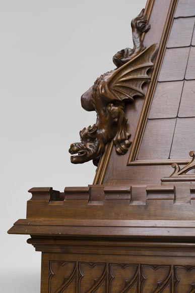 Beautiful antique Neo-Gothic style fireplace in sculpted walnut with hood, representing St Michael slaying the demon-7