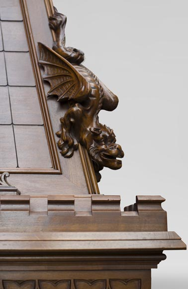 Beautiful antique Neo-Gothic style fireplace in sculpted walnut with hood, representing St Michael slaying the demon-13