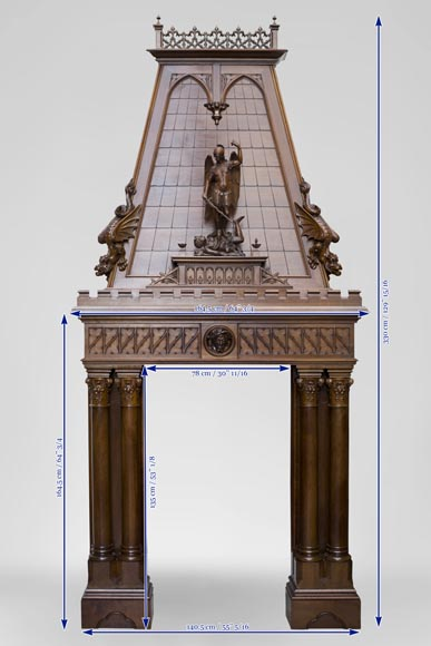 Beautiful antique Neo-Gothic style fireplace in sculpted walnut with hood, representing St Michael slaying the demon-15