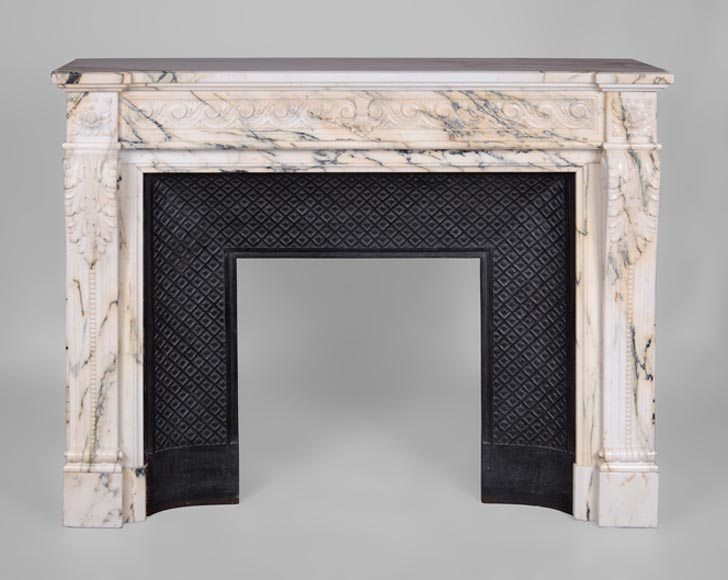 Beautiful antique Louis XVI style fireplace in Paonazzo marble with vitruvian scroll frieze - Reference 3241