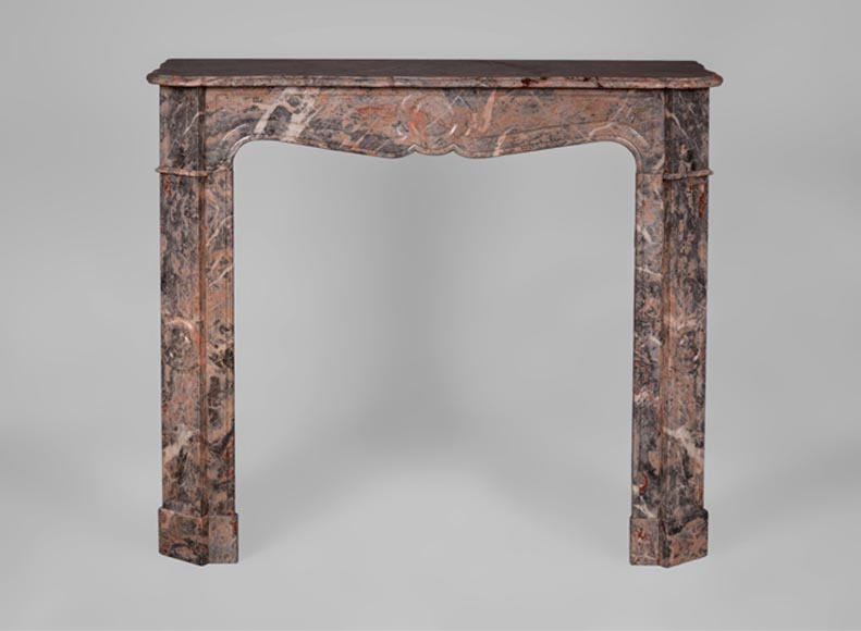 Small antique Louis XV style fireplace, Pompadour model, in Rose Enjugerais marble - Reference 3242