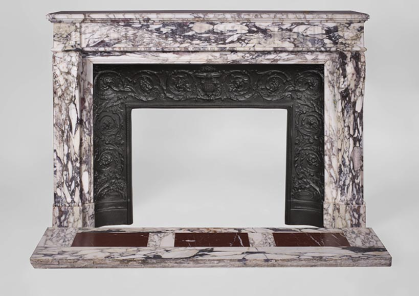 Antique Louis XVI style fireplace with flutings in Serravezza Breccia marble - Reference 3243