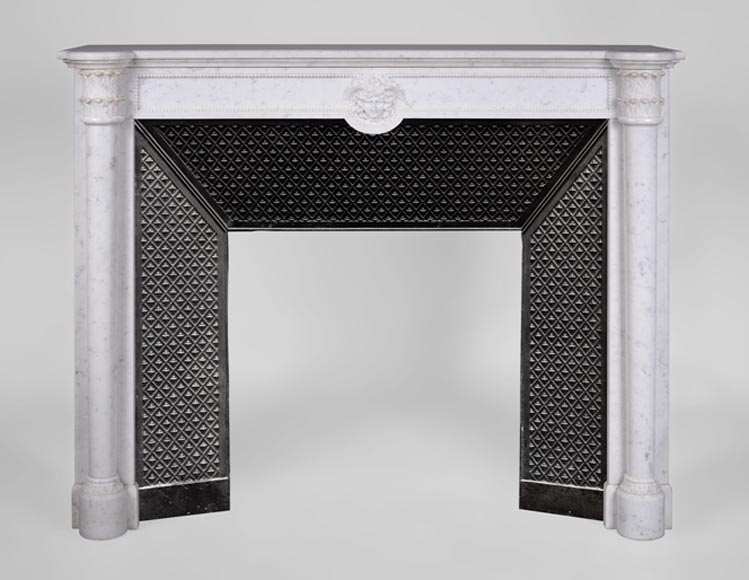 Antique Louis XVI style Carrara marble fireplace with half columns and Hermes mask - Reference 3245