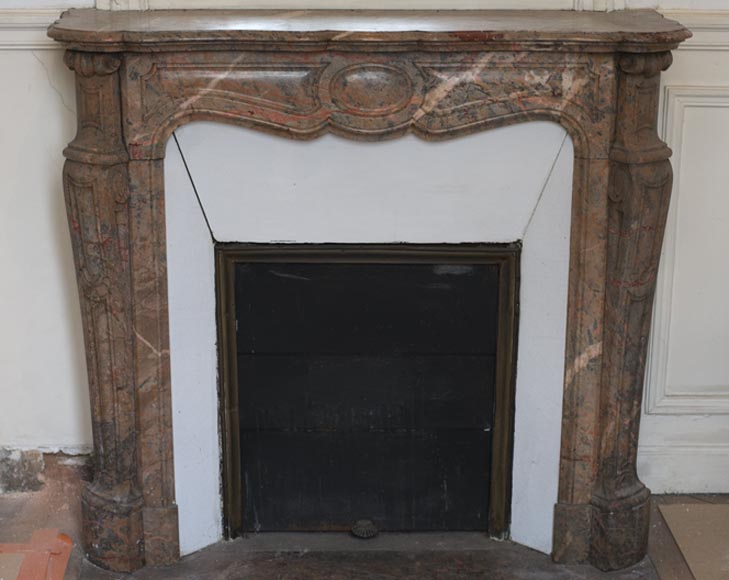 Beautiful Antique Pompadour Fireplace in Enjugerais Pink marble, with its original enameled insert, 19th c.-0