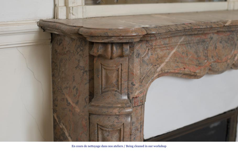 Beautiful Antique Pompadour Fireplace in Enjugerais Pink marble, with its original enameled insert, 19th c.-3