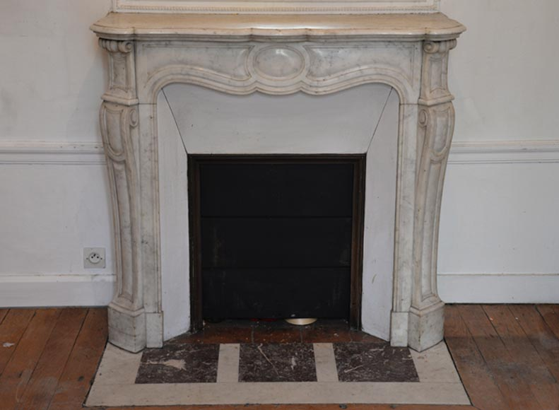 Antique Pompadour fireplace mantel, Louis XV style, in Carrara marble - Fireplace Mantels - See All