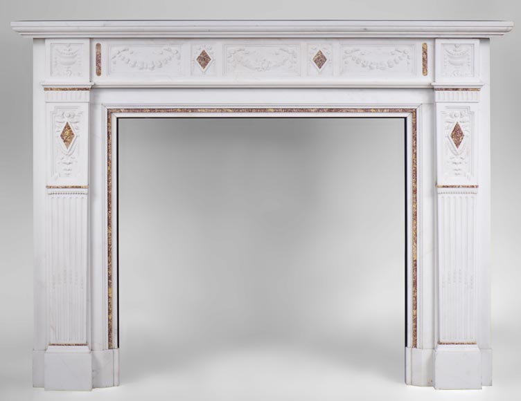 Very beautiful Victorian style antique fireplace in Carrara Statuary marble and Violet Brocatelle marble, from late 19th century, with flutings, garlands and diamonds.-0