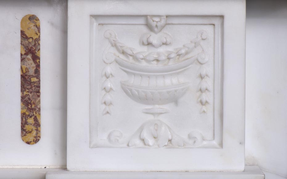 Very beautiful Victorian style antique fireplace in Carrara Statuary marble and Violet Brocatelle marble, from late 19th century, with flutings, garlands and diamonds.-2