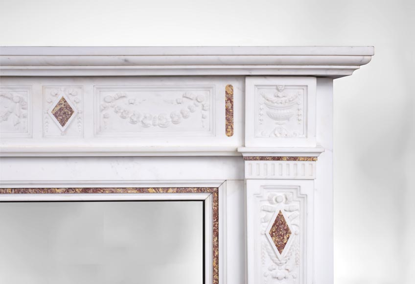 Very beautiful Victorian style antique fireplace in Carrara Statuary marble and Violet Brocatelle marble, from late 19th century, with flutings, garlands and diamonds.-10
