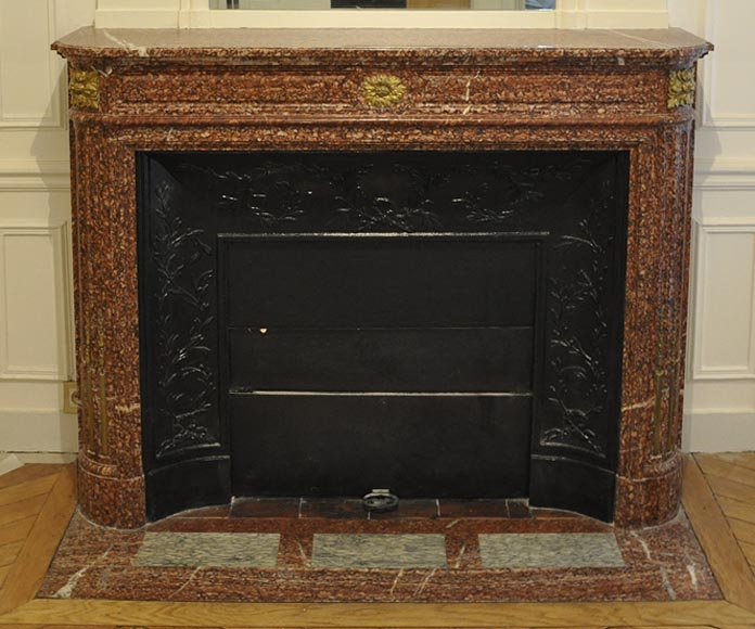Antique Louis XVI style fireplace mantel with round corners in Griotte marble and gilt bronze ornaments-0