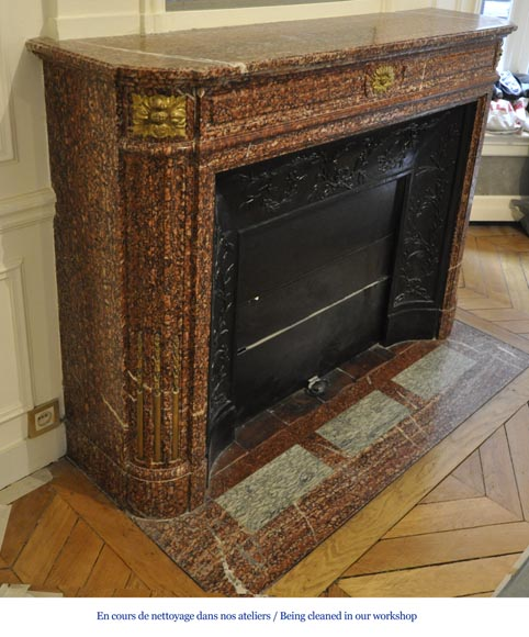 Antique Louis XVI style fireplace mantel with round corners in Griotte marble and gilt bronze ornaments-2