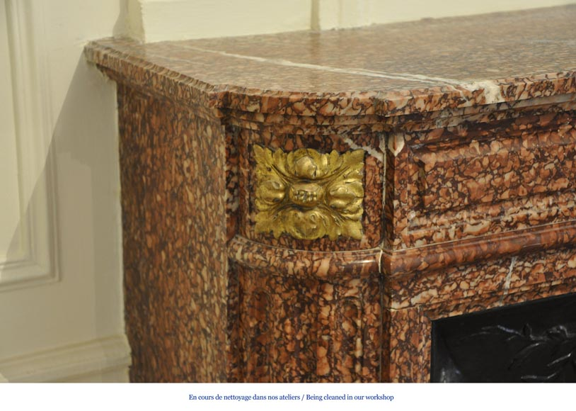 Antique Louis XVI style fireplace mantel with round corners in Griotte marble and gilt bronze ornaments-3