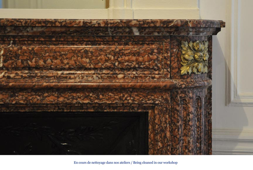 Antique Louis XVI style fireplace mantel with round corners in Griotte marble and gilt bronze ornaments-6