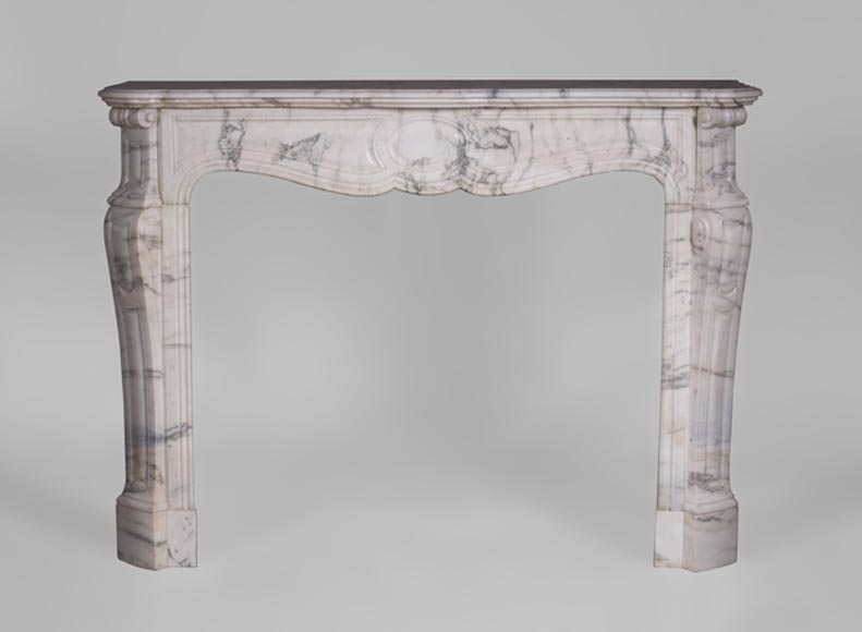 Antique Pompadour fireplace, Louis XV style, in Arabescato marble-0