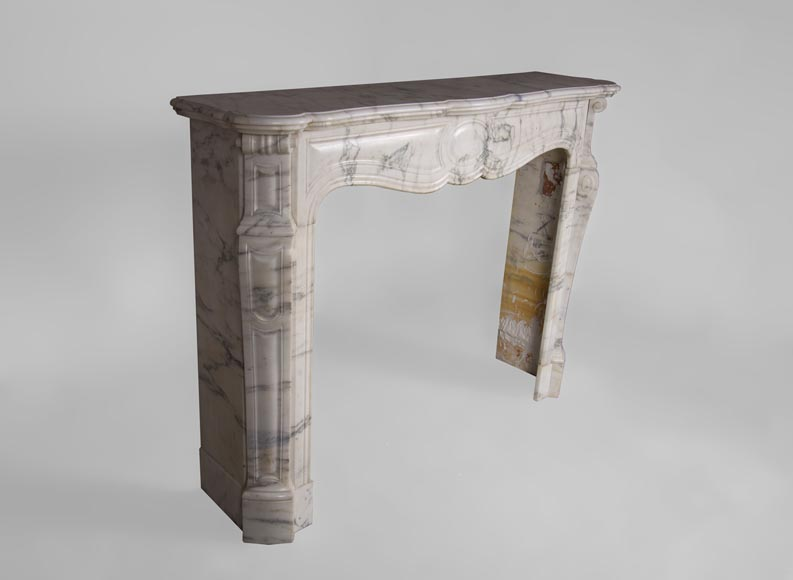 Antique Pompadour fireplace, Louis XV style, in Arabescato marble-2
