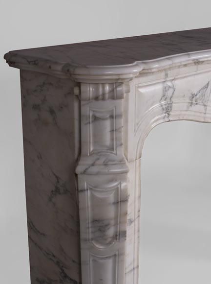 Antique Pompadour fireplace, Louis XV style, in Arabescato marble-3