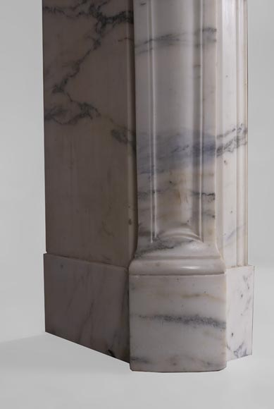 Antique Pompadour fireplace, Louis XV style, in Arabescato marble-4
