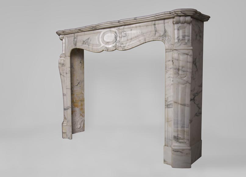 Antique Pompadour fireplace, Louis XV style, in Arabescato marble-5