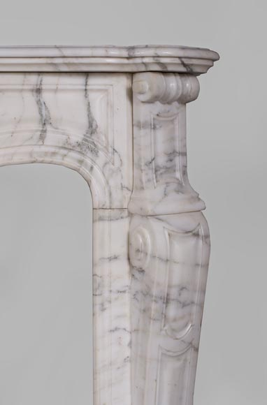 Antique Pompadour fireplace, Louis XV style, in Arabescato marble-6
